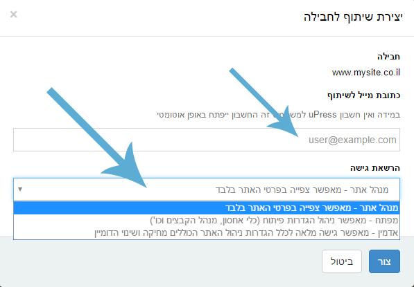 בחירת שיתוף לחבילה uPress